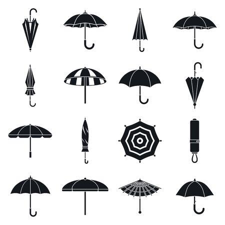 Umbrella accessory icons set, simple style Ilustração