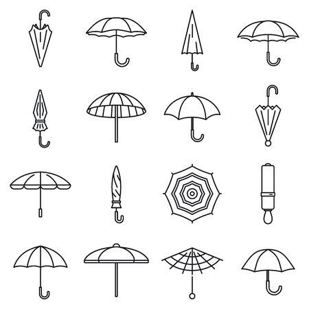 Rain umbrella icons set, outline style