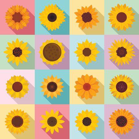 Sunflower icons set, flat style Ilustração