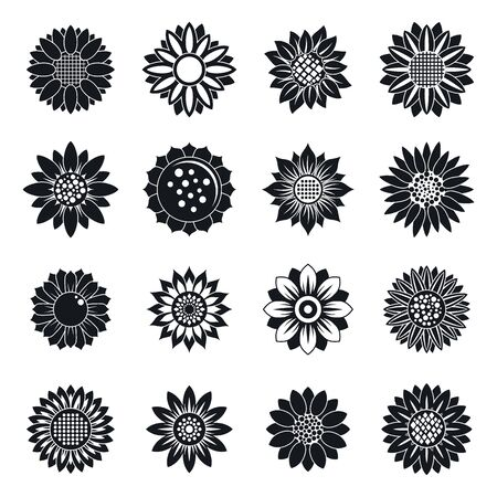 Sunflower plant icons set, simple style