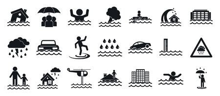 Flood icons set, simple style