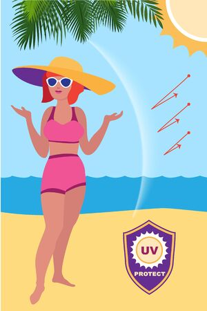 Woman sunscreen protect concept banner, cartoon style