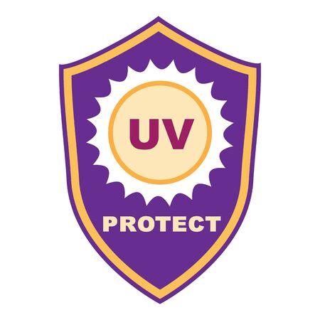 Uv shield protect icon, cartoon style