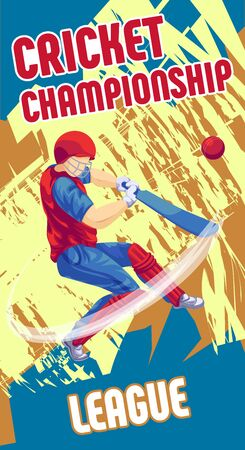 Cricket league concept banner, cartoon style
