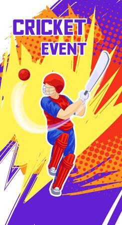 Cricket event concept banner, cartoon style
