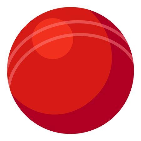 Cricket red ball icon, cartoon style