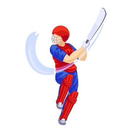 Cricket player shot icon, cartoon style Ilustracja