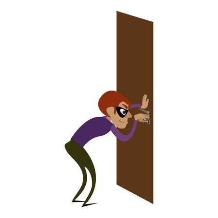 Burglar door icon. Cartoon of burglar door vector icon for web design isolated on white background Illustration