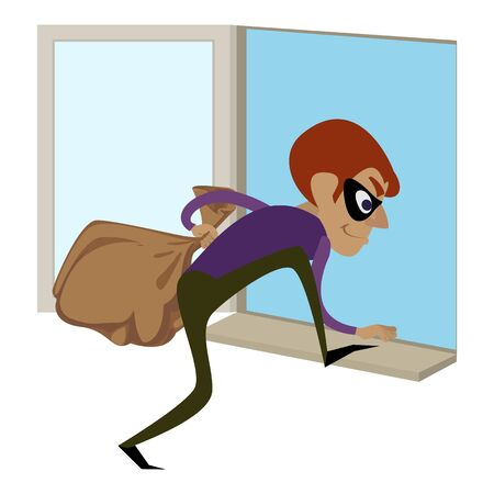 Burglar through window icon, cartoon style