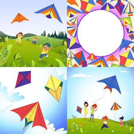 Kite banner set, cartoon style Illustration