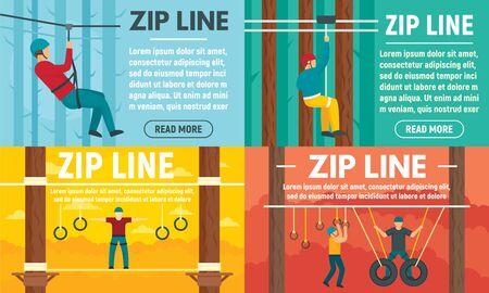 Zip line banner set, flat style Ilustração Vetorial