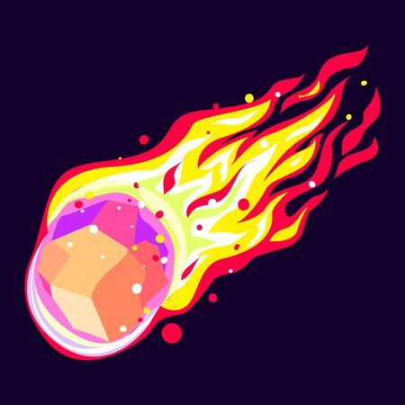 Stone meteorite icon, cartoon style