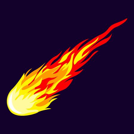 Flame meteorite icon, cartoon style