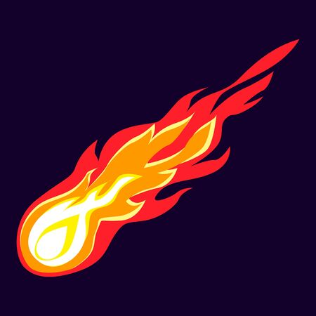 Flying meteorite icon, cartoon style