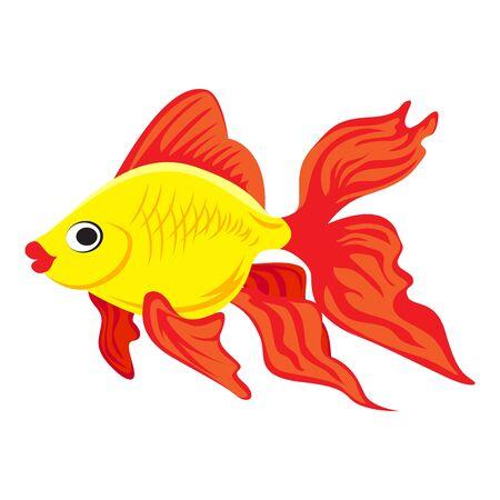 Lindo icono de peces de colores, estilo de dibujos animados Ilustración de vector