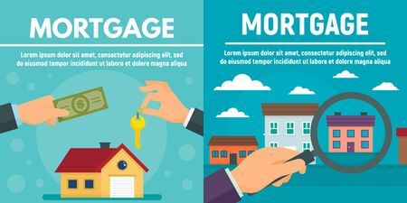 Mortgage banner set, flat style