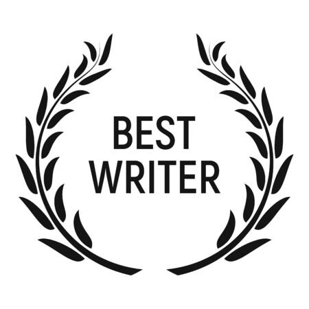 Best writer award icon, simple style Illustration