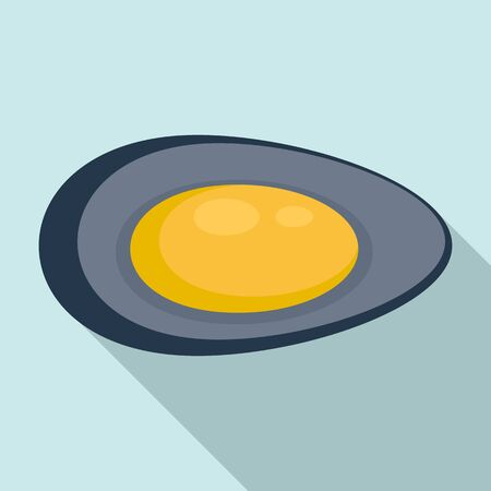 Lunch mussels icon, flat style Vektorové ilustrace