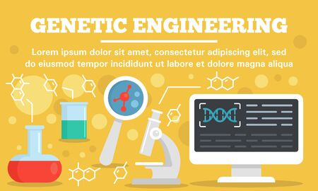 Lab genetic engineering concept banner, flat style