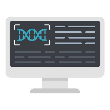 Monitor genetic lab icon, flat style Çizim