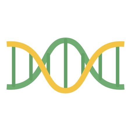 Green yellow dna icon, flat style