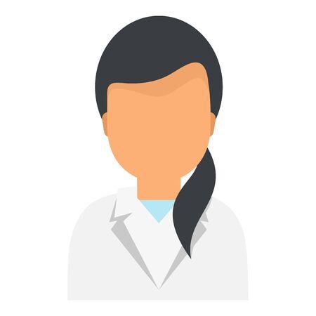 Lab doctor woman icon, flat style Çizim