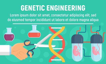Genetic operation concept banner, flat style Çizim