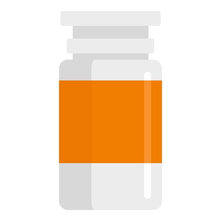 Pill plastic bottle icon, flat style