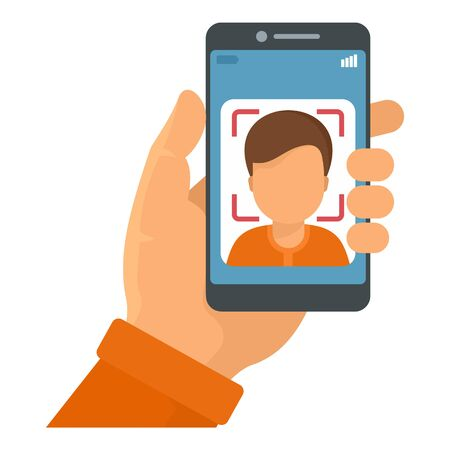 Smartphone face recognition icon, flat style Çizim