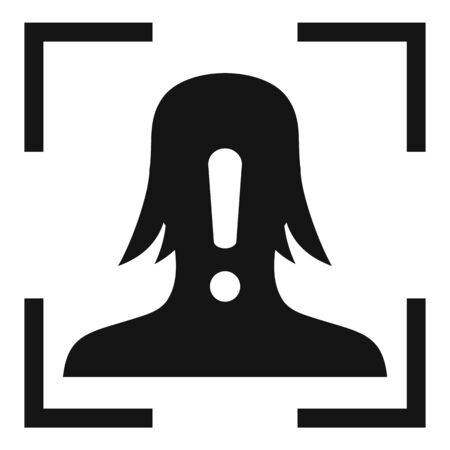 Face recognition alert icon, simple style