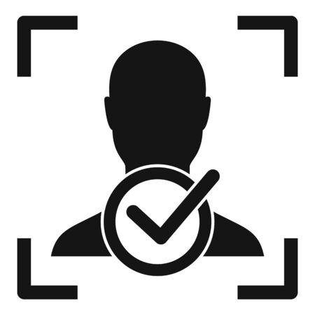 Approved face recognition icon, simple style Çizim