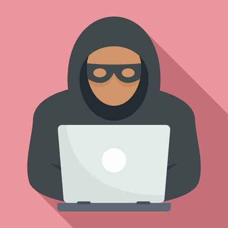 Laptop hacker icon, flat style Çizim