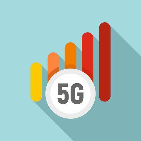 5g mobile icon, flat style Çizim
