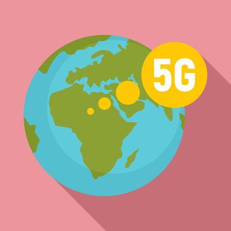 Global 5g technology icon, flat style Çizim
