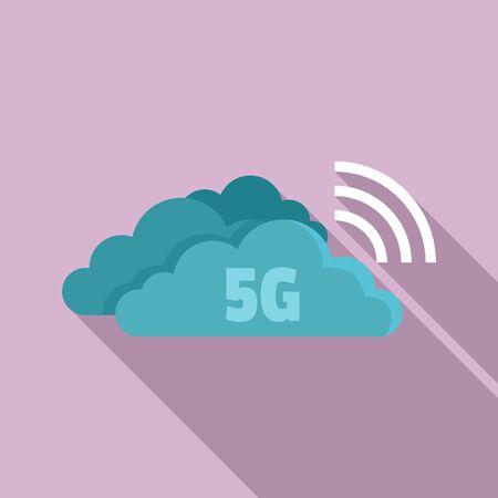 5G cloud technology icon. Flat illustration of 5G cloud technology vector icon for web design Çizim