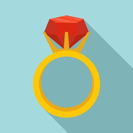 Gemstone ring icon, flat style Çizim