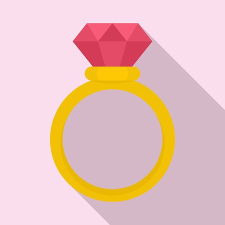 Brilliant ring icon, flat style