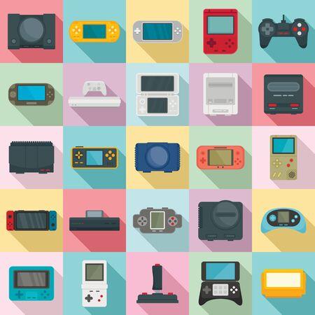Console icons set, flat style Çizim