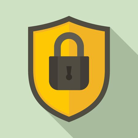 Shield protect security icon, flat style Ilustração