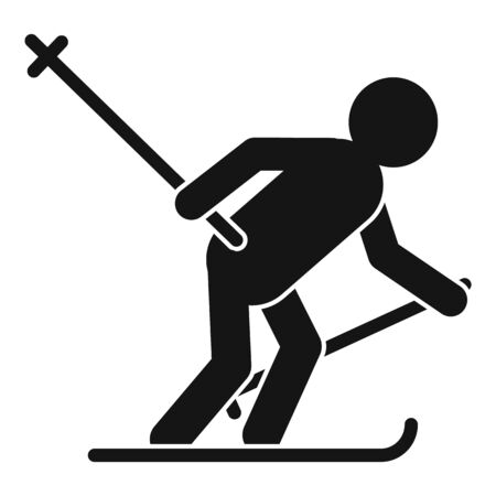 Biathlon man icon, simple style