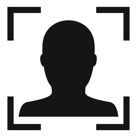 Electronic face recognition icon, simple style Çizim