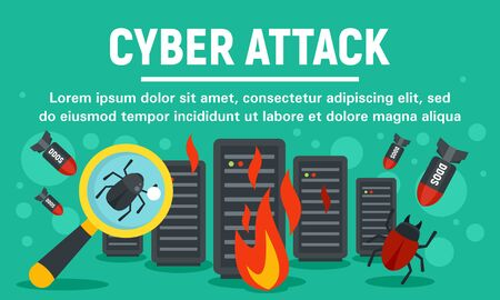 Server cyber attack concept banner, flat style Çizim