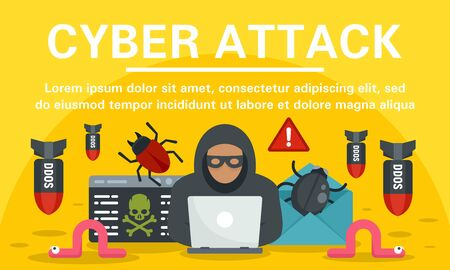 Hacker cyber attack concept banner, flat style