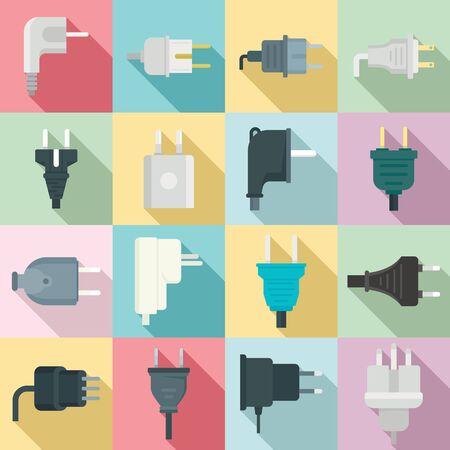 Plug icons set, flat style Illustration
