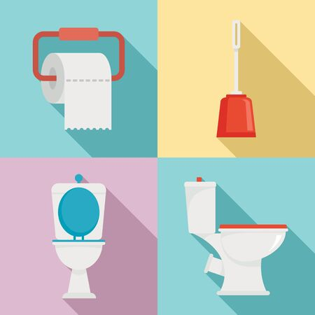 Toilet icons set, flat style Çizim