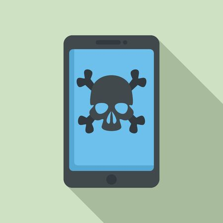 Hacked smartphone icon, flat style