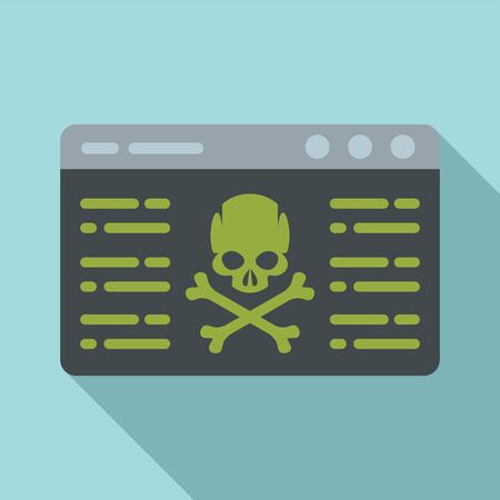 Virus attack icon, flat style Çizim