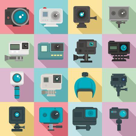 Action camera icons set, flat style Çizim