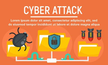 Folder cyber attack concept banner, flat style