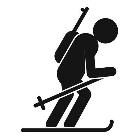Biathlon skiing icon, simple style